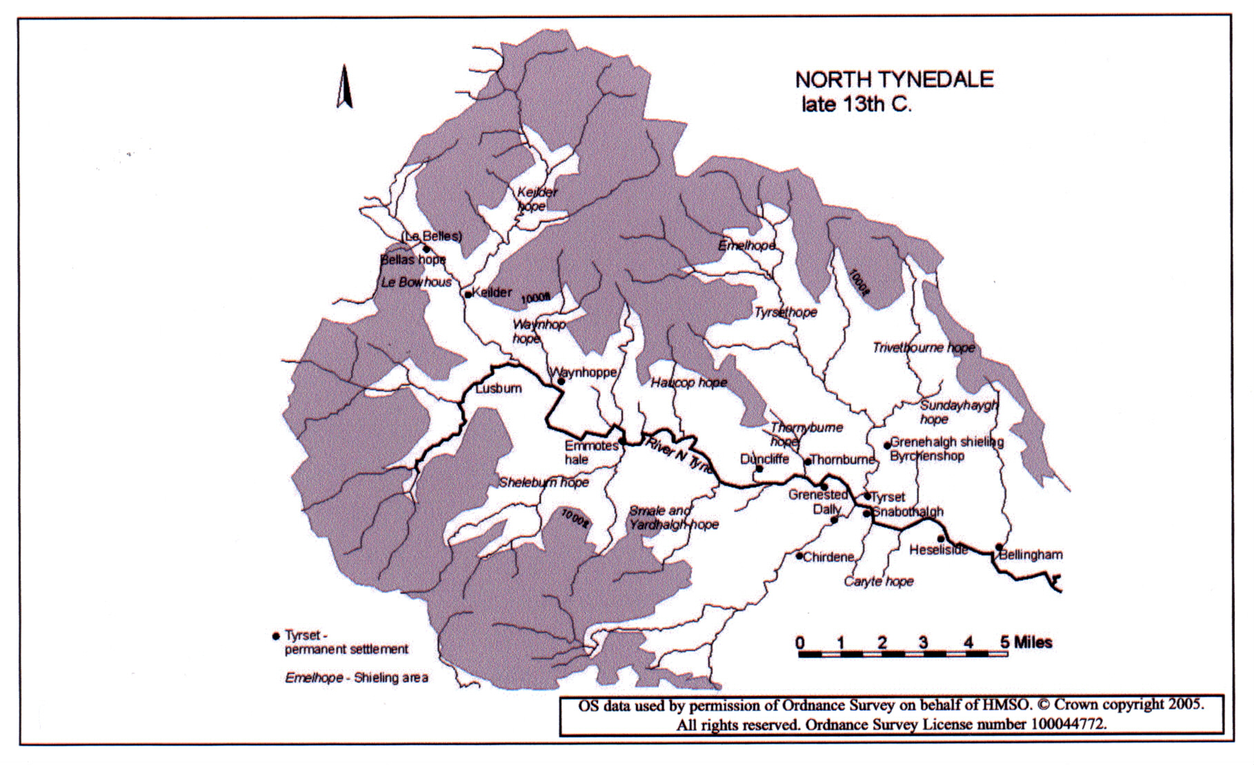 Late 13th. century settlement in upper North Tynedale, based on Harbottle and Newman (1973); with suggested alteration to position of medieval Waynhoppe. From Droving Research Report for Northumberland National Park Authority 2005