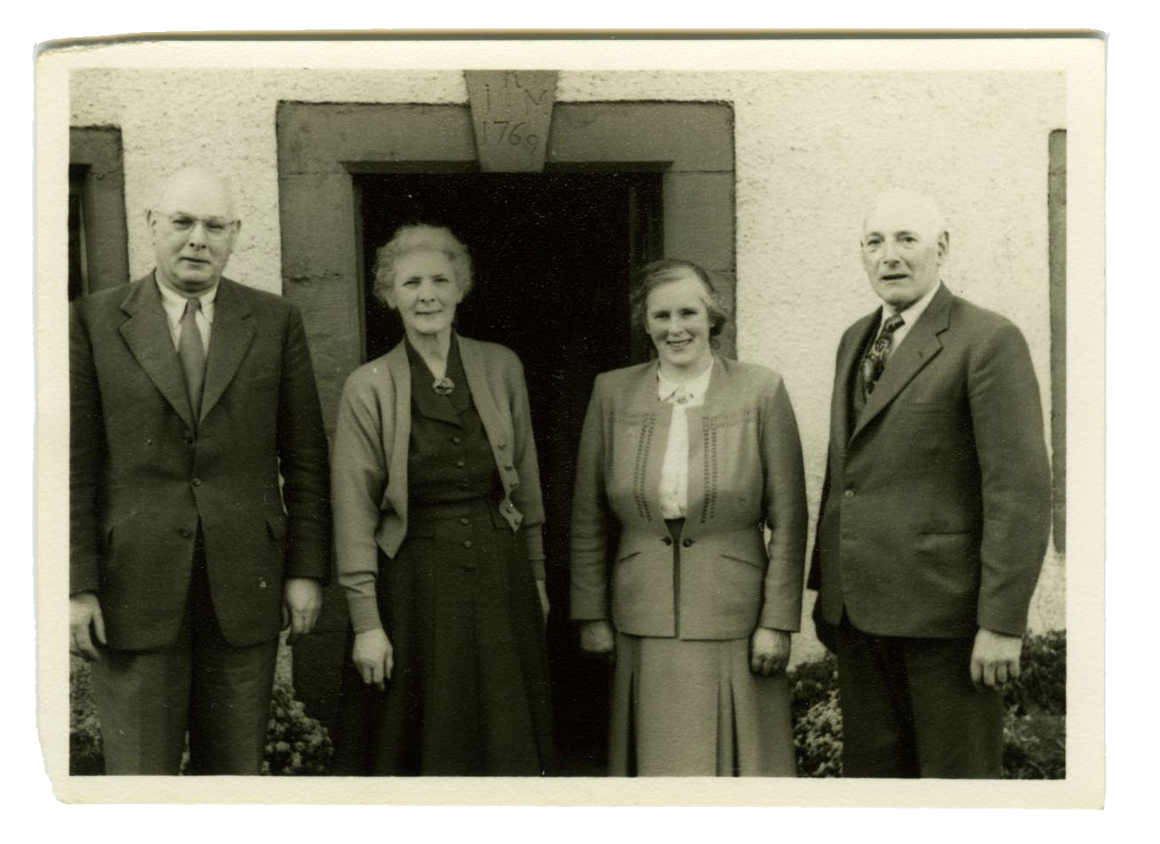 Arthur, Billie, Mollie and Addie Wannop at Little Blencow. Ca. 1960