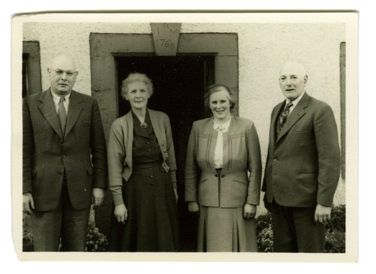 Arthur, Billie, Mollie and Addie Wannop at Little Blencow. Ca. 1960